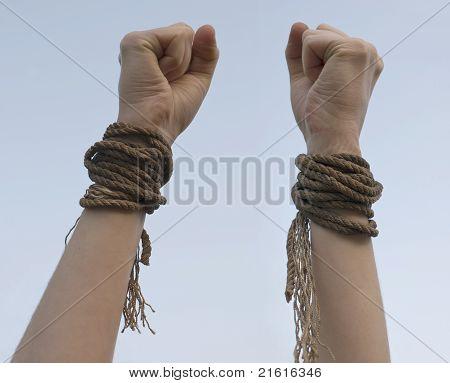 Tied Hands With Broken Rope