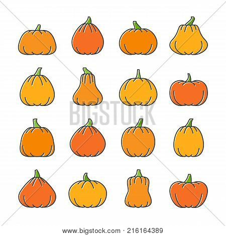 Halloween line icon set. Color linear symbol pack. Outline sign with displaced fill. Simple pictogram graphic collection. Web, infographic or business style logo concept. Isolated vector illustration