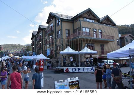 PARK CITY, UT - AUG 27: Park Silly Sunday Market in Park City, Utah, as seen on Aug 27, 2017. It is an eco-friendly open air market, street festival & community forum.