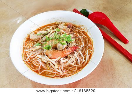 Penang Popular Prawn Mee Noodles With Eggs, And Small Shrimp