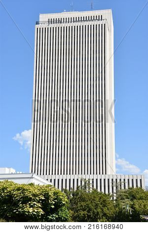 SALT LAKE CITY, UT - AUG 28: Church Office Building at Temple Square in Salt Lake City, Utah, as seen on Aug 28, 2017. It houses the administrative support staff for the lay ministry of The Church of Jesus Christ of Latter-day Saints.