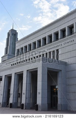 SALT LAKE CITY, UTAH - AUG 28: Conference Center in Salt Lake City, Utah, on Aug 28, 2017. Its the main meeting hall for The Church of Jesus Christ of Latter-day Saints and largest auditorium built.
