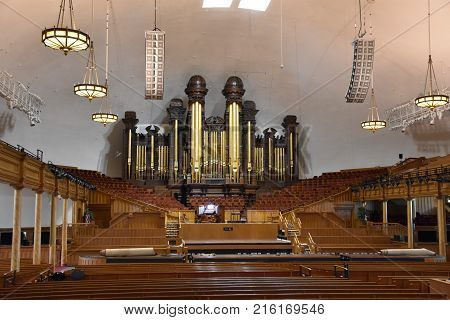 SALT LAKE CITY, UTAH - AUG 28: Mormon Tabernacle at Temple Square in Salt Lake City, Utah, as seen on Aug 28, 2017. The Tabernacle was built from 1864 to 1867.