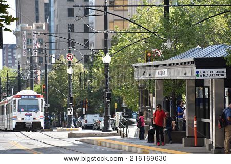 SALT LAKE CITY, UT - AUG 28: TRAX, Utah Transport Authority's light rail system, in downtown Salt Lake City, as seen on Aug 28, 2017.