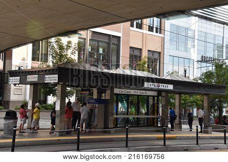 SALT LAKE CITY, UT - AUG 28: TRAX, Utah Transport Authority's light rail system, in downtown Salt Lake City, as seen on Aug 28, 2017.