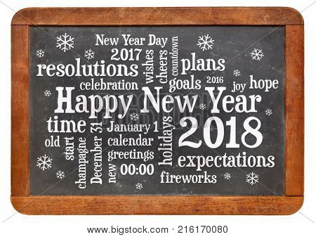 Happy New Year 2018 word cloud - white chalk text  on a vintage slate blackboard isolated on white