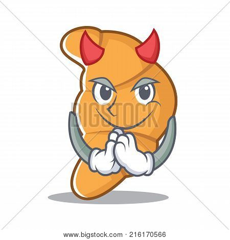 Devil croissant character cartoon style vector illustartion
