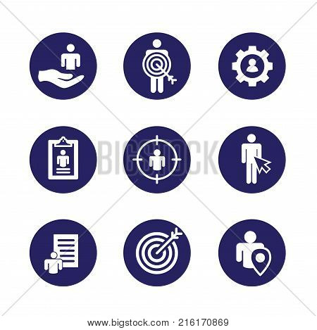Target Market Icons Of Buyer Image And Persona  - Gear, Arrow, Nurturing Leads