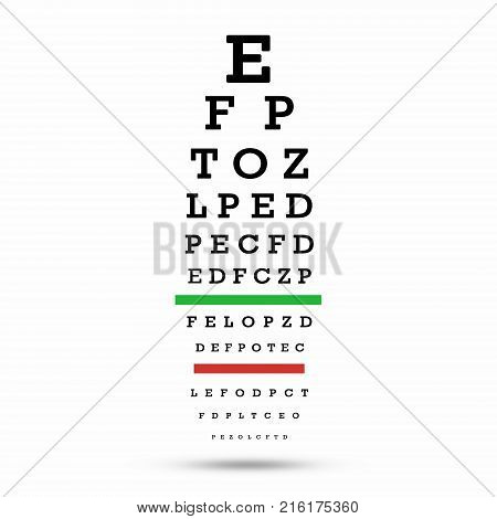 Eye test chart. The testing board. with clipping path. 3D illustration