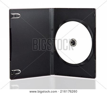 DVD box with disc on white background.