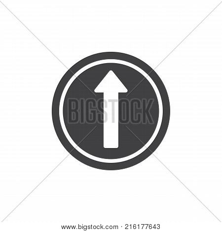 Go straight road sign icon vector, filled flat sign, solid pictogram isolated on white. Straight ahead traffic symbol, logo illustration.