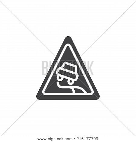 Slippery road icon vector, filled flat sign, solid pictogram isolated on white. Traffic sign symbol, logo illustration.
