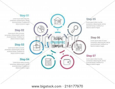 Circle infographics template with seven elements, process diagram, steps, options, vector eps10 illustration