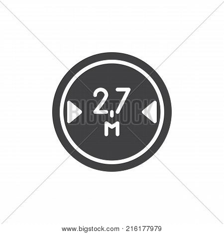 Road sign maximum vehicle length 2, 7 icon vector, filled flat sign, solid pictogram isolated on white. Symbol, logo illustration.