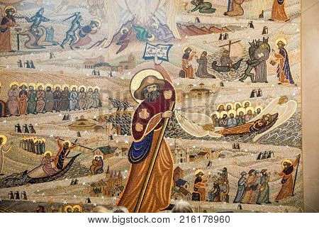 Lyon France - December 9 2016: A mosaic that represents the path of Santiago in the crypt of the Notre Dame de Fourviere basilica