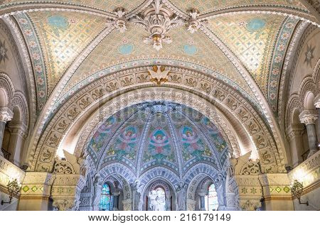 Lyon France - December 9 2016: The crypt of the Notre Dame de Fourviere basilica