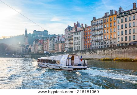 Lyon France - December 8 2016: The architectures of the old town seen from the Saone river
