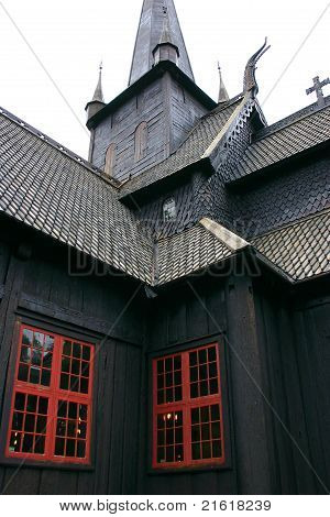 Tower And Windows Of The Lom Stave Church