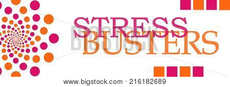 Stress buster text written over pink gold background.