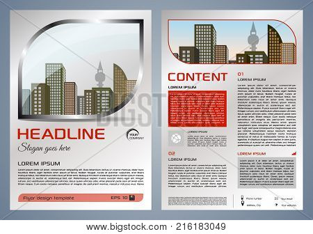 Vector flyer corporate business annual report brochure design and cover presentation with metal window and red color