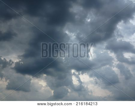 Dark rainy clouds on the sky - rainy weather