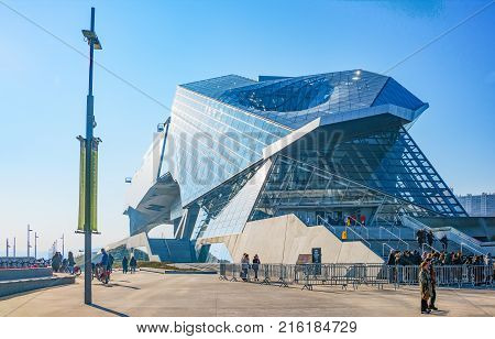 Lyon France - December 10 2016: Confluence district the ultra moder architextures of the Confluence museum