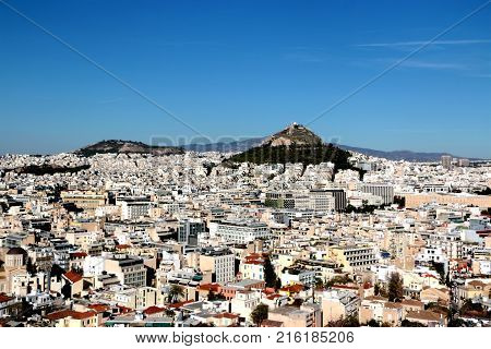Aerial View of Athens and Mount Lycabettus from Areopagus Hill, Athens, Greece.