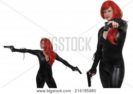 Woman In A Vinyl Cat Suit