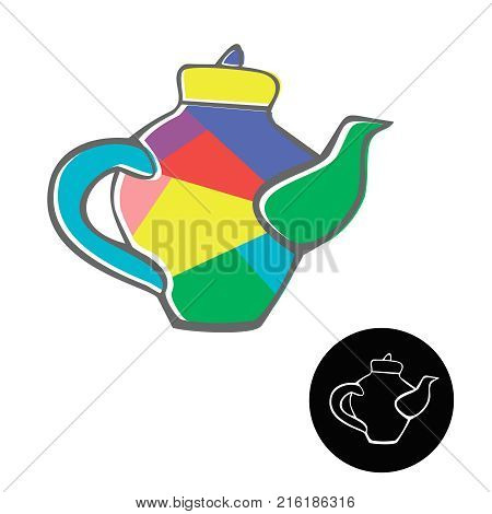 Bright kettles set isolated on a white background. Kettle or teapot triangle mosaic icon image on style doodle.