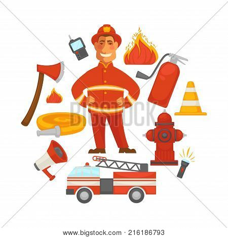 Firefighting and fire protection poster of extinguishing equipment tools. Vector flat icons of firefighter, extinguisher, water hydrant hose and engine car or siren and safety helmet