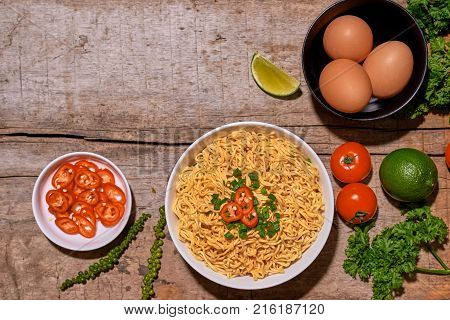 Traditional Asian Instant Noodles Meal With Vegetables