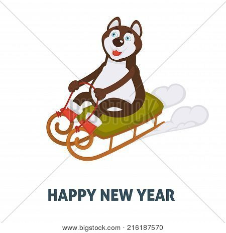 happy new year 2018 cartoon dog celebrating holidays in santa sleigh vector icon of happy