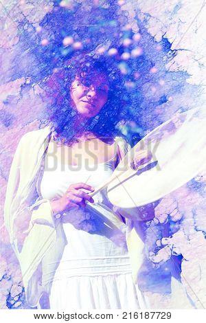 shamanic girl with frame drum on abstract structured background. Marble effect