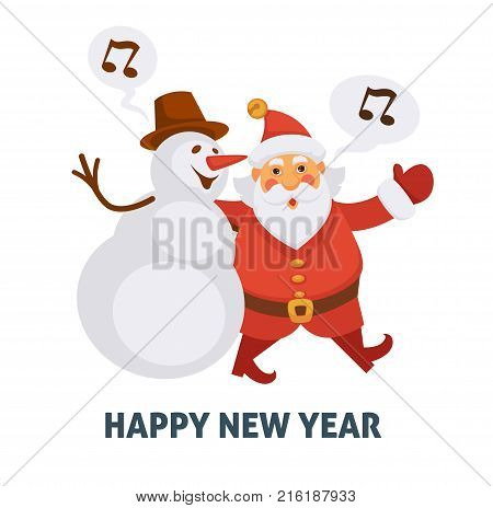 Happy New Year cartoon Santa and snowman singing Christmas song. Vector icons of happy Santa and snowman friend character celebrating winter holiday for greeting card design