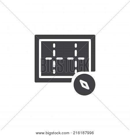 Orientation compass icon vector, filled flat sign, solid pictogram isolated on white. Symbol, logo illustration