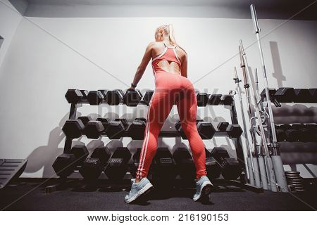Dumbbells. Girls are standing at the counter with dumbbells. Concept body fitness workout.