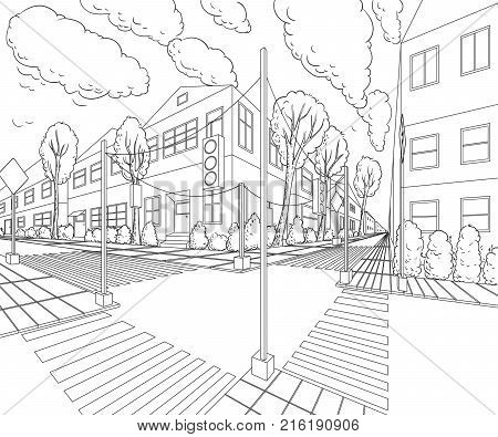 City street with buildings, traffic light, crosswalk and traffic sign. Cityscape background in sketch style. Vector illustration