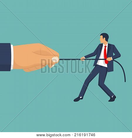 Strong businessman against weak. Business people. Businessmen in suit pull the rope. Tug of war. Vector illustration, flat design. Inequality concept. Corporate conflicts.