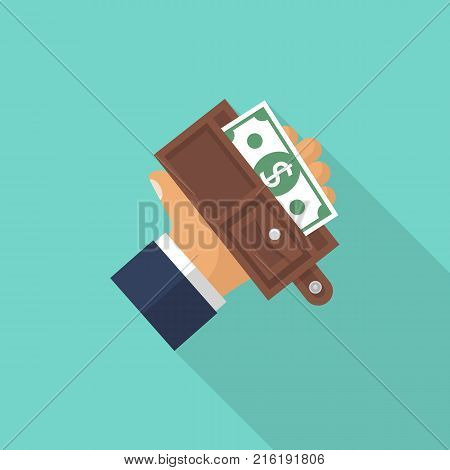 Wallet in man hand. Vector illustration flat design. Opened wallet isolated on background. Taking money from purse. Cash payment. Putting dollars.