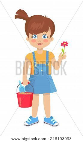 Brunette doll like girl with red flower and bucket with shovel vector illustration isolated on white. Cute cartoon kindergarten age female holds toys