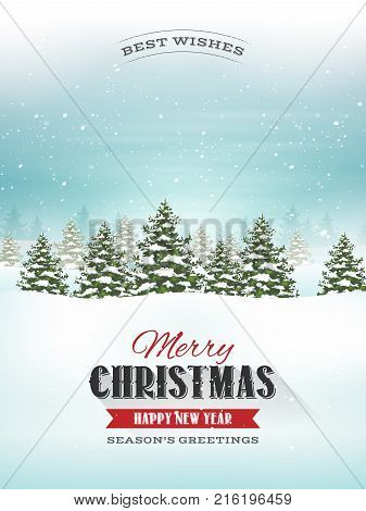 Illustration of a snowy christmas landscape background with firs banner and wishes for winter and new year holidays