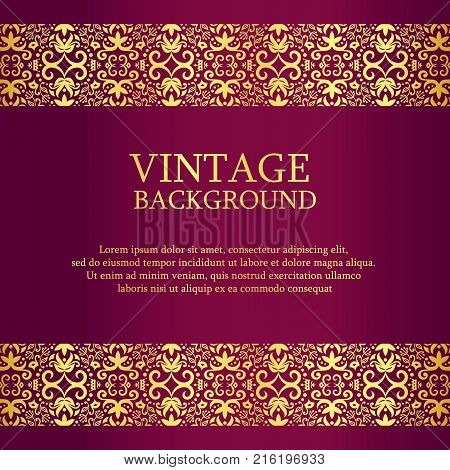 Vintage purple background with golden lace as top and down decoration