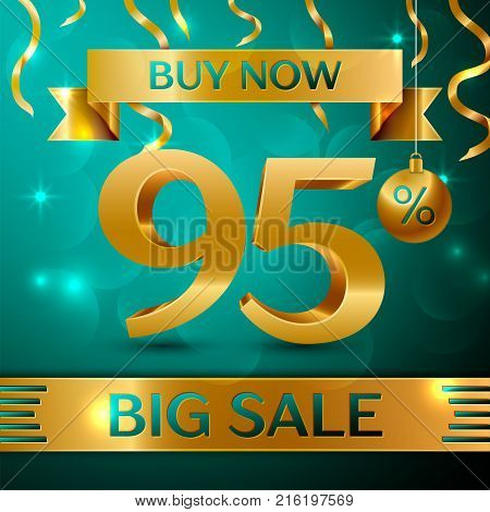 Realistic banner Merry Christmas with text Gold Big Sale buy now ninety five percent for discount on green background. Confetti, christmas ball and gold ribbon. Vector Illustration