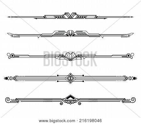 Set of Art deco borders and ornaments. Vector illustration.