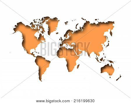 Map of World cut into paper with inner shadow isolated on orange background. Vector illustration with 3D effect.