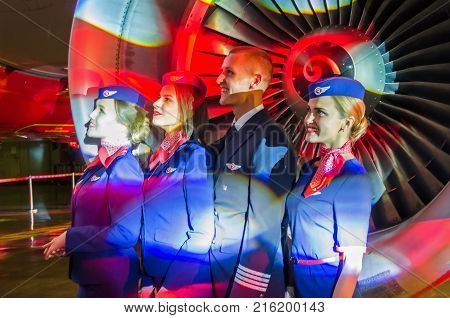 Charming Stewardess And Stewards Dressed In Uniform. Russia, Saint-petersburg. 23 November, 2017.