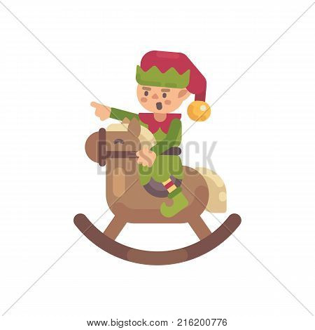Cute Christmas elf riding a rocking horse. Santa Claus elf flat character illustration