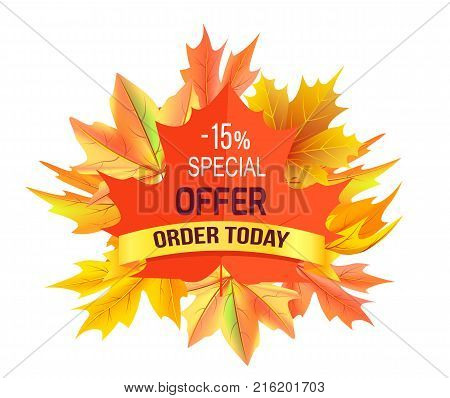 Special offer - 15 order today promo advertisement on red maple leaf on background of foliage bouquette isolated on white vector illustration label