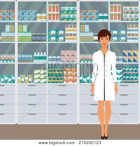 Woman Pharmacist In A Pharmacy Opposite The Shelves With Medicines. Vector Illustration In Flat Styl