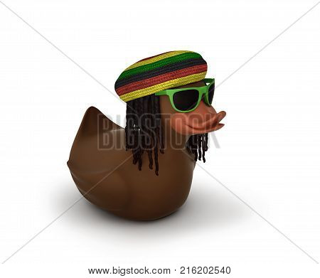 Black rubber duck in sunglasses with dreadlocks and rastaman's hat isolated on white. 3D rendering with clipping path